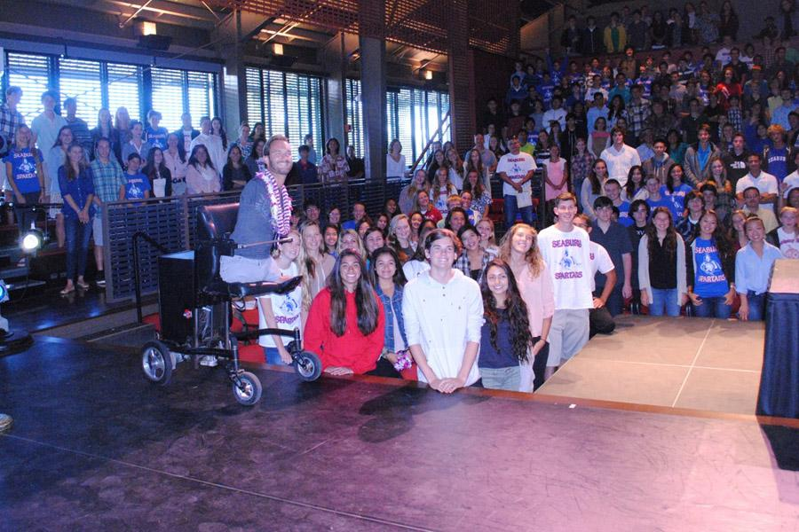 On Friday, April 4, students gathered in the `A`ali`ikūhonua Creative Arts Center to hear motivational speaker Nick Vujicic talk.