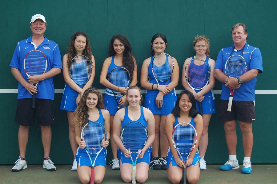 Seabury Hall's 2013-2014  girls tennis team is led by co-team captains junior Anna Ezzay (front row, center) and sophomore Lauralei Singsank (back row, fourth from the left).