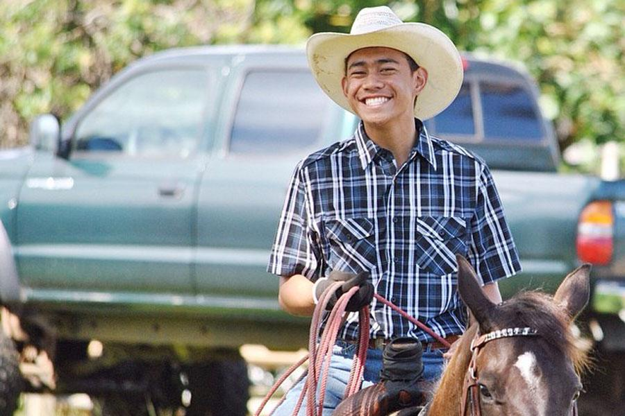 Seabury Hall sophomore Trystin Hooper competes in local rodeos, specializing in barrel racing and team roping.