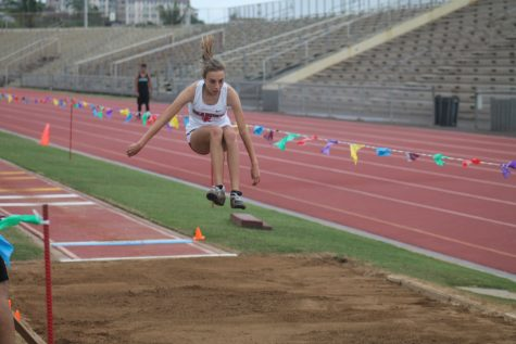 Freshman Maile Dougherty competes in the long jump at a recent Maui Interscholastic League (MIL) meet.