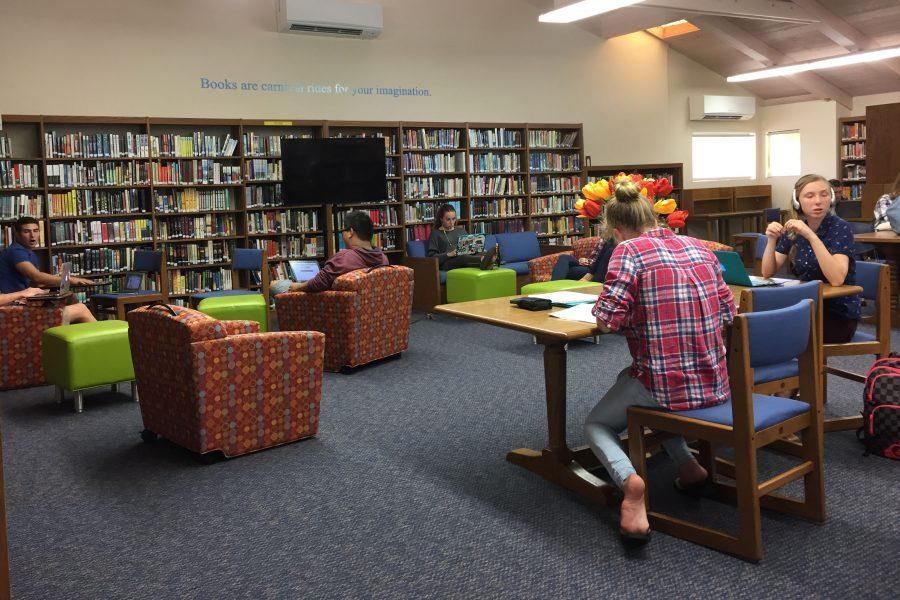 Seabury Hall students relax and study in the newly renovated Castle Library on Thursday, September 29.