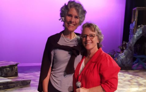 Brooke Brown, pictured here with Susan Pirsch, Seabury Hall's counselor, spoke to students at a recent assembly.