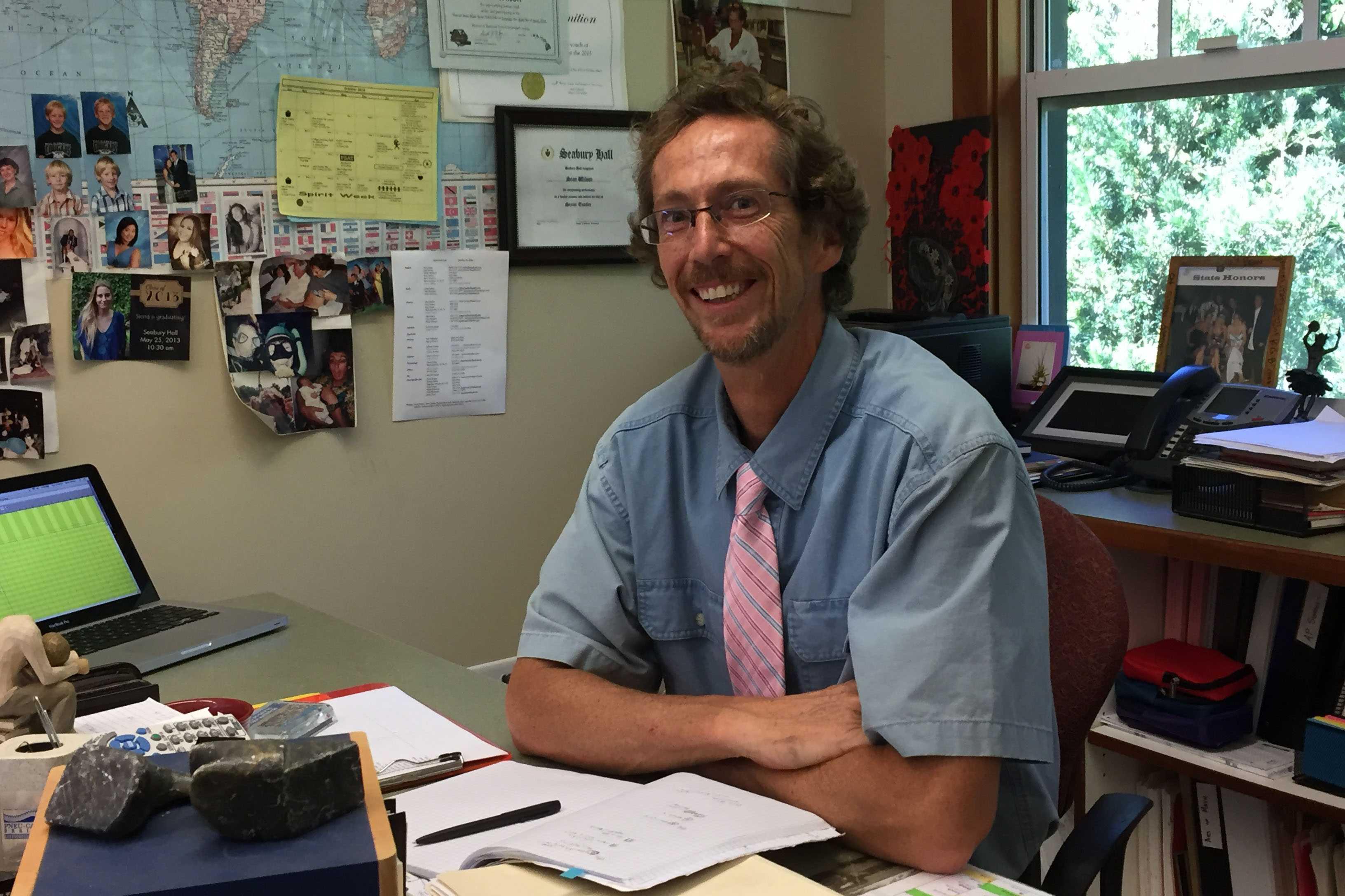 Seabury Hall's animated math teacher Sean Wilson shares his love for math with his students.