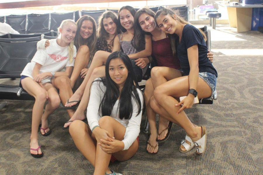 Seabury Hall's cross country celebrates at the Honolulu Airport as they prepare for their return flight to Maui on Saturday, October 8, 2016