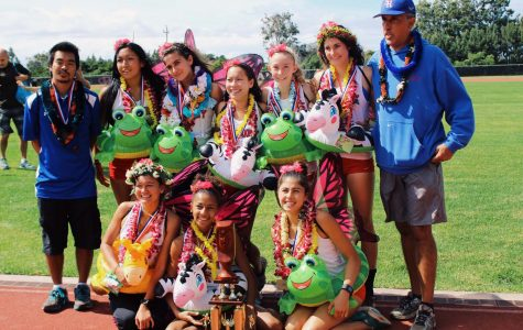 Seabury Hall's girls cross country team celebrates its first place overall title at the 2016 Hawaii Cross Country State Championships.