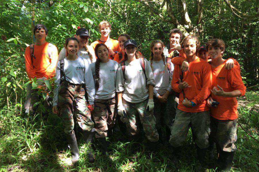 Students worked to clear invasive species with Maui Invasive Species Committee in Hana.