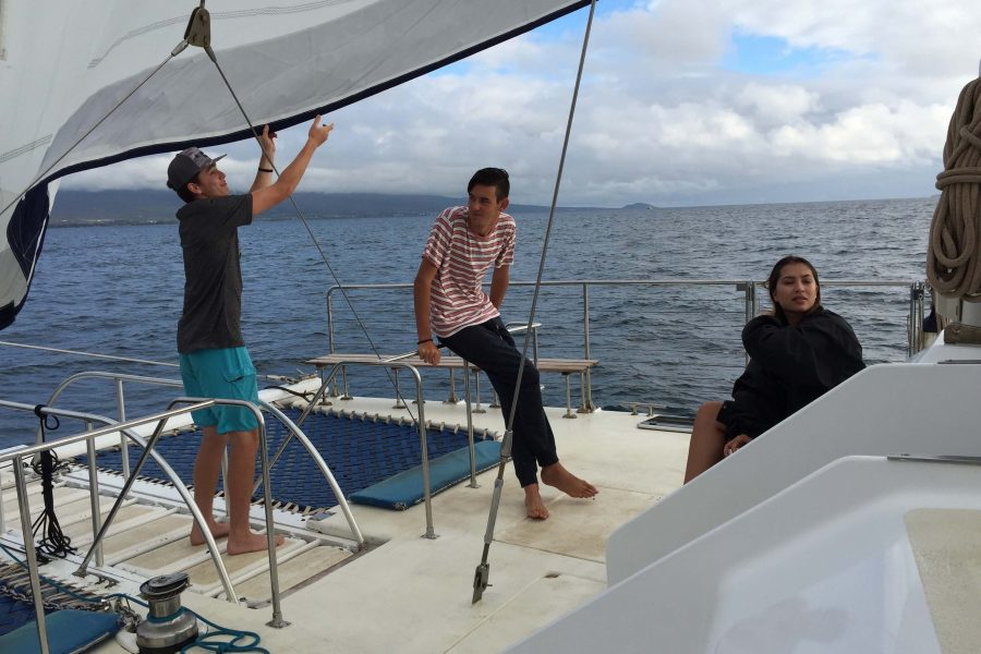 Students sailed around  the waters of Maui and Lanai during Winterim Week with Trilogy.