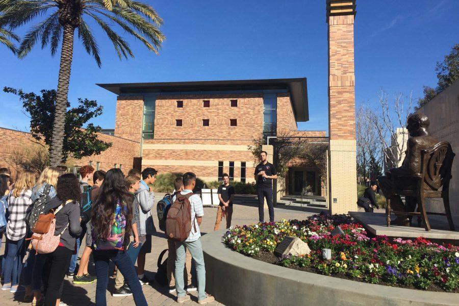 Freshmen tour Chapman University in Orange, California as part of the Freshmen College Visitation Winterim.