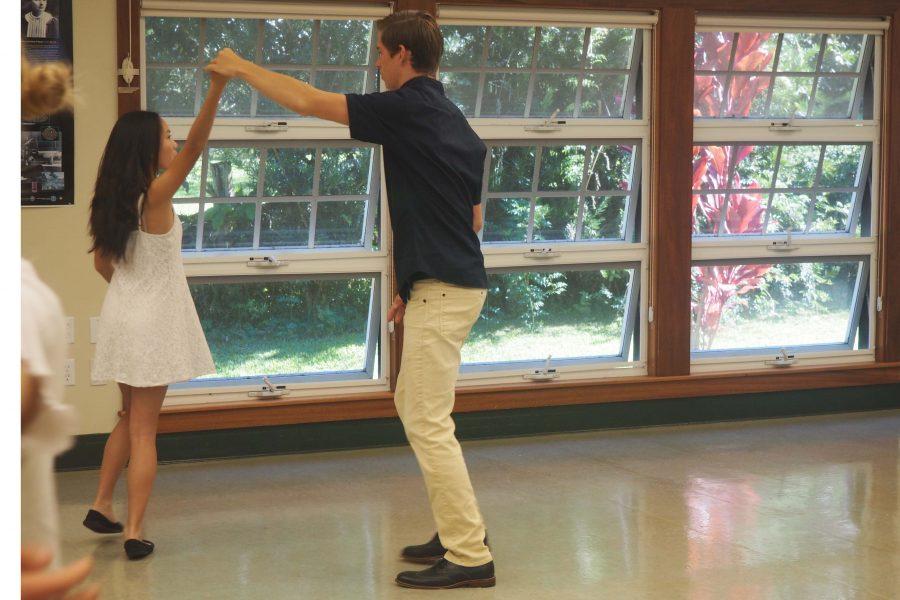 Juniors Darby Mulligan and Kai Ponting practice their spinning skills in the Ballroom Dancing Winterim.